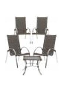 Jogo Cadeiras 4Un E Mesa De Centro Garden Para Edicula Jardim Area Varanda Descanso - Pedra Ferro