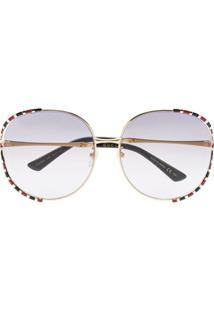 Gucci Eyewear Óculos De Sol Oversized Degradê - Dourado