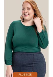 Blusa Plus Size Decote Redondo Verde
