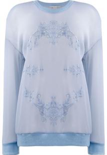 Stella Mccartney Blusa De Moletom Com Bordado Floral - Azul
