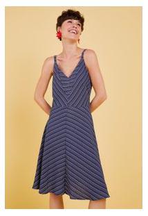 Vestido Listras Alternadas Azul Marinho/G