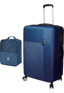 Kit Com Mala New Geometric - 19 Polegadas - Necessaire Para Sapatos Com Alça Carona Azul