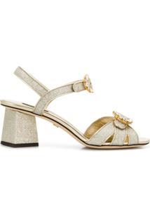 Dolce & Gabbana Sandália Com Fivela De Cristal - Prateado