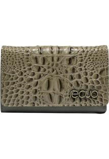 Carteira Em Couro Recuo Fashion Bag Bege/Cinza - Tricae