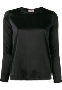 Blanca Vita Blusa Com Decote Arredondado - Preto
