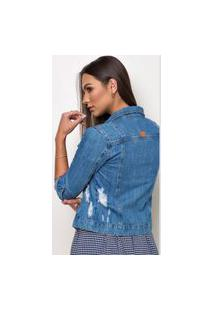 Jaqueta Jeans Outlet Premium Melly Destroyed Azul