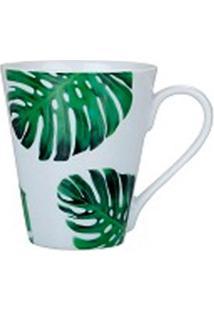 Caneca Naomi Porcelana Flor Verde Escuro 330Ml - 29916
