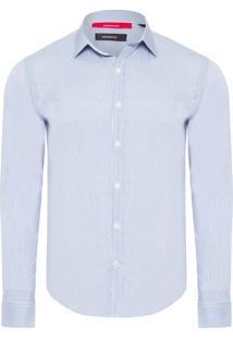 Camisa Masculina Enxuto Listras Elastano - Azul