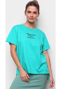 Camiseta Colcci Less Online Feminina - Feminino-Verde Claro+Verde