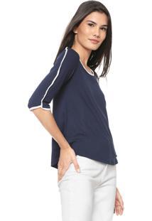 0d15ee7433 ... Blusa Malwee Bicolor Azul-Marinho Branca