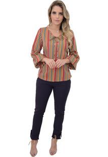 Blusa Mamorena M. Longa Decote Amarrar Listrado Telha - Multicolorido - Feminino - Dafiti