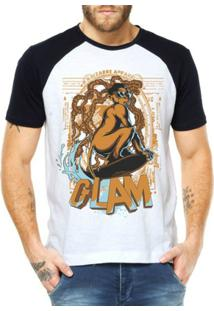 Camiseta Criativa Urbana Raglan Troll Br Hue Hu3 - Masculino-Branco