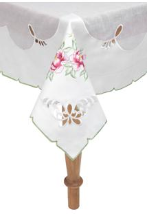 Toalha De Mesa Argivai Quadrada Romance 220X220Cm Branca