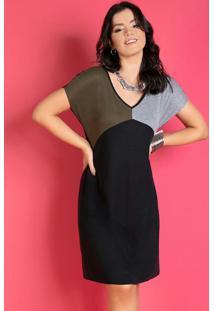 Vestido Curto Tricolor Preto Com Bolsos