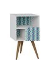 Mesa De Cabeceira Com Porta Retrô Branco Estampa Azul - Be Mobiliário