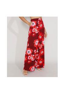 Calça Feminina Pantalona Cintura Super Alta Estampada Floral Com Bolsos Vermelha Escuro