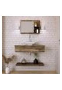 Conjunto Para Banheiro Bancada Com Cuba L38 Folha, Prateleira E Espelheira City 806 Carvalho Dark