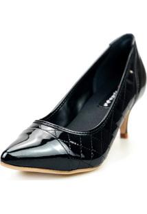 Scarpin Love Shoes Social Bico Fino Salto Médio Captoe Matelasse Preto - Kanui