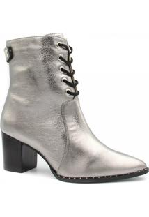 Bota Zariff Shoes Ankle Boot Salto Zíper Feminina - Feminino-Cinza