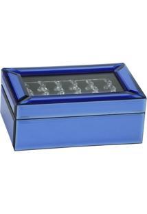Porta Jóias Espelhado Espressione Vidro Azul 21 X 13 Cm