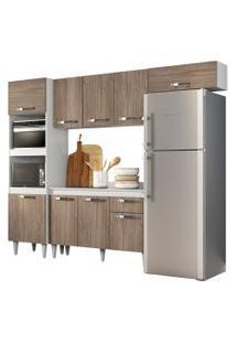 Cozinha Modulada 4 Módulos Composiçáo 2 Branco/Castanho - Lumil Móveis