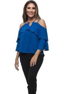 Blusa Clara Arruda Decote Fivela Feminina - Feminino-Azul