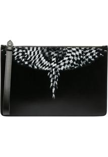 Marcelo Burlon County Of Milan Cross Wings Leather Clutch Bag - Preto