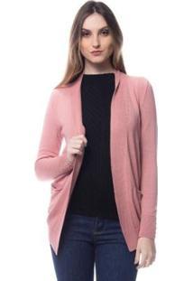 Cardigan Logan Tricot Modal Com Bolso Conforto Feminino - Feminino-Rosa