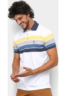 Camisa Polo Aleatory Fio Estampa Listrada Masculina - Masculino-Branco+Amarelo