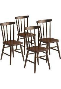 Cadeira Utis Em Madeira Maciça 4 Peças Castanho Acetinado - Urbe Móveis