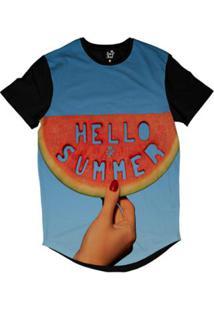 Camiseta Longline Long Beach Olá Verão Sublimada Masculina - Masculino-Azul