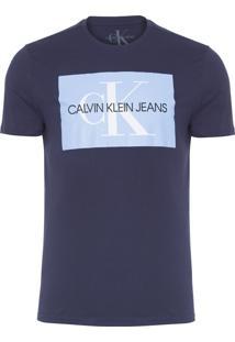 Camiseta Masculina Estampa Ck Quadrado - Azul