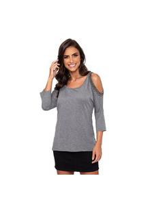 Blusa Simone Saga Bordado Open Shoulder Cinza