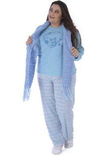 Pijama De Inverno Plus Size Listrado Victory Feminino - Feminino-Azul