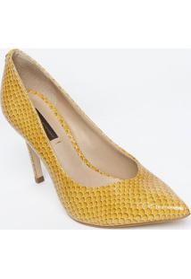 Scarpin Em Couro Com Tag - Amarelo - Salto: 10Cmjorge Bischoff