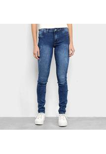 Calça Jeans Skinny Coffee Estonada Feminina - Feminino-Azul Escuro