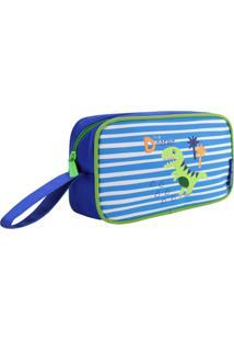 Necessaire Estojo Infantil Dinossauro Jacki Design Pequeninos Azul - Kanui
