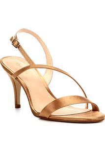 Sandália Shoestock Salto Fino Cetim Feminina - Feminino-Dourado