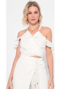 Blusa Cropped Em Laise Com Amarração - Off White - Lla Concha