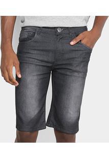 Bermuda Jeans Reta Preston Masculina - Masculino-Preto