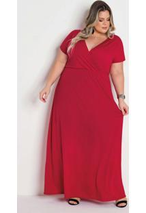 Vestido Longo Vermelho Transpassado Plus Size