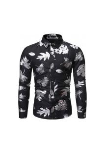 Camisa Masculina Florida Leaf - Preta