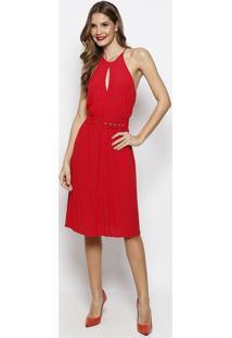 Vestido Com Recortes Vazados & Cinto- Vermelho- Foruforum