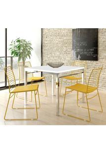Mesa 1525 Branca Cromada Com 4 Cadeiras 1712 Color Uv Amarelo Carraro