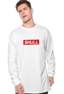 Camiseta Manga Longa Skull Clothing Red Branco