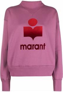 Isabel Marant Étoile Blusa De Moletom Moby Com Logo - Rosa