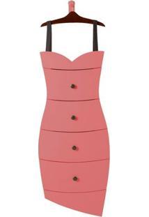 Cômoda 4 Gavetas Dress Maxima Cacau/Rosa New