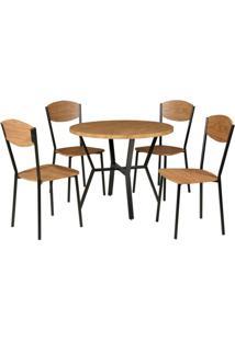Conjunto De Mesa Com 4 Cadeiras Valência Marrom E Preto