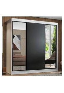 Guarda-Roupa Casal Madesa Reno 3 Portas De Correr Com Espelhos Branco/Preto Branco