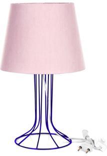 Abajur Torre Dome Rosa Com Aramado Azul